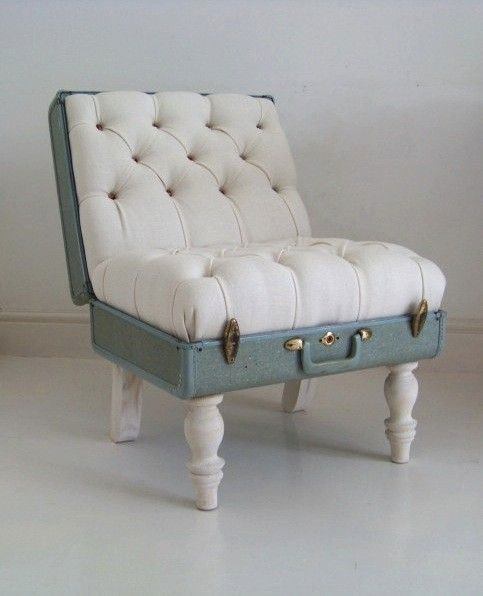 suitecase chair - can't get any better. i wonder if i will feel restless sitting on this chair.