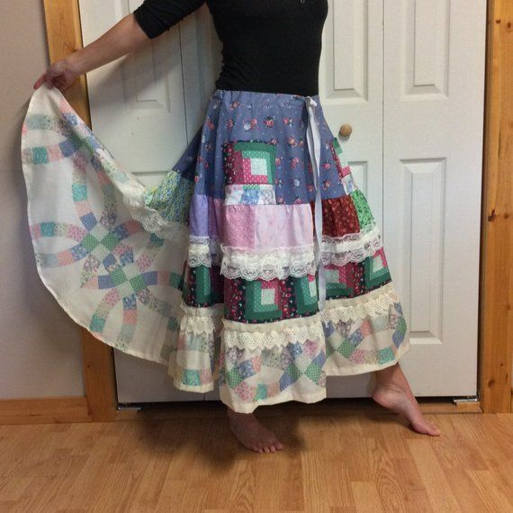b325b4007 Patchwork Ruffle Skirt with Pockets, Long Maxi, Country Hippie Plus Size  XL-1X-2X Womans Skirts for Summer