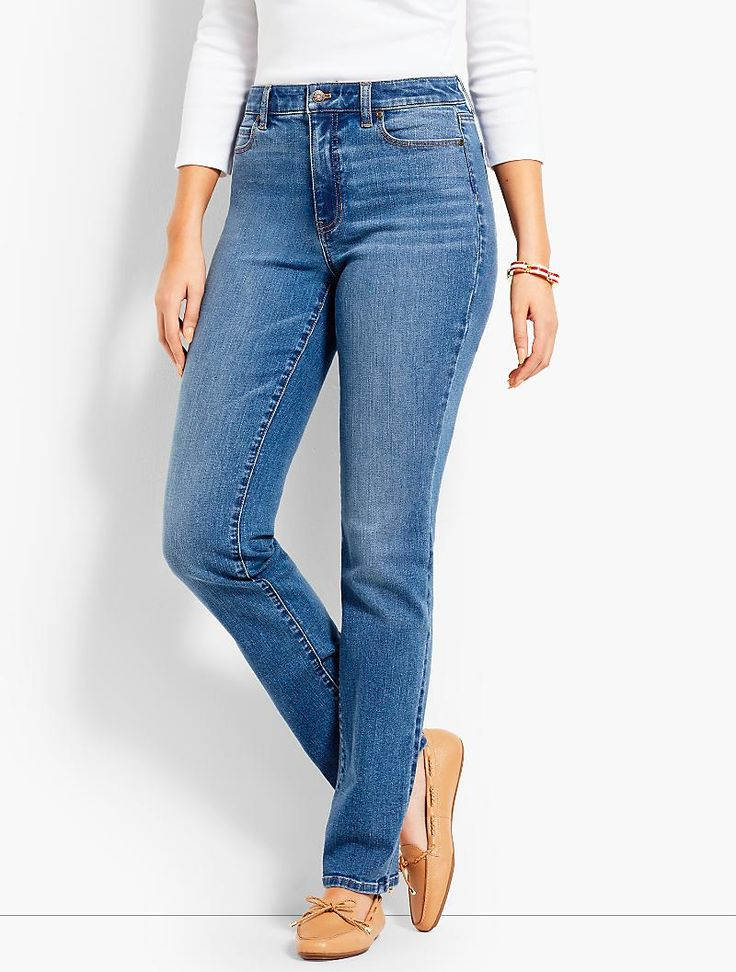 High-Rise Denim Straight-Leg - Curvy Fit/True Blue | Talbots