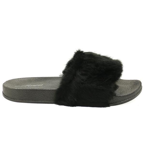 Izzy-24 Pink Furry Slide Slip Sandals - Traffic Shoe