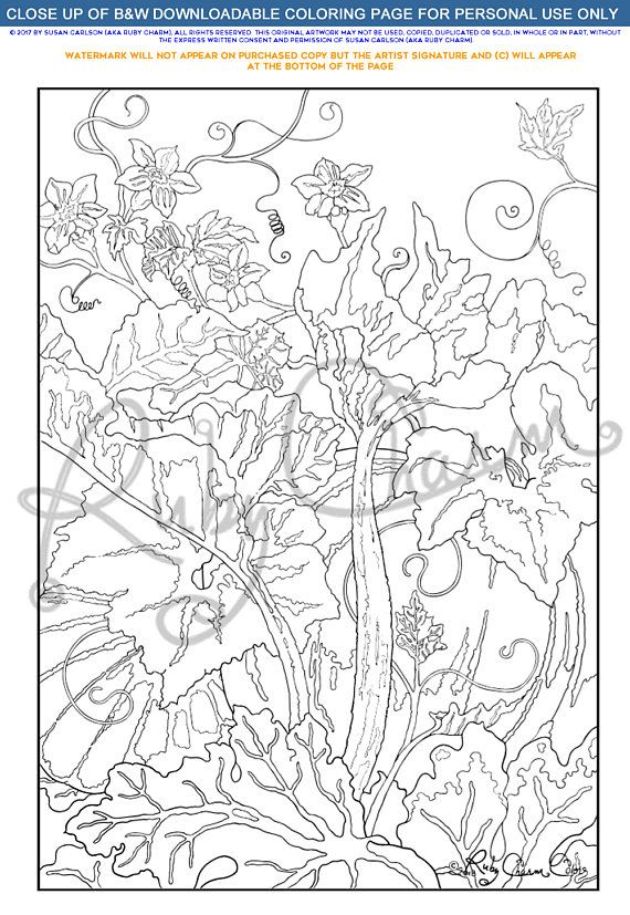 Garden Goods 1 Downloadable Printable Pdf Coloring Page Etsy In 2021 Coloring Pages Coloring Books How To Draw Hands