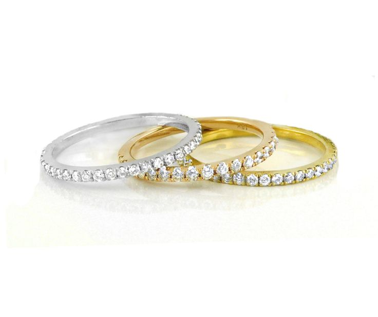 An 18ct White Gold and Diamond Eternity Ring with an 18ct Rose Gold Diamond Eternity Ring and an 18ct Yellow Gold and Diamond Eternity Ring