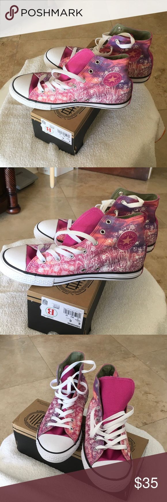 Woman converse Woman high top converse. Super cute with different shades of pink and flower 🌺 print. Converse Shoes Sneakers