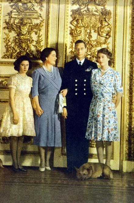 ilovethemonarchy:  British Royal Family circa mid 1940s-Princess Margaret, Queen Elizabeth, King George VI and Princess Elizabeth