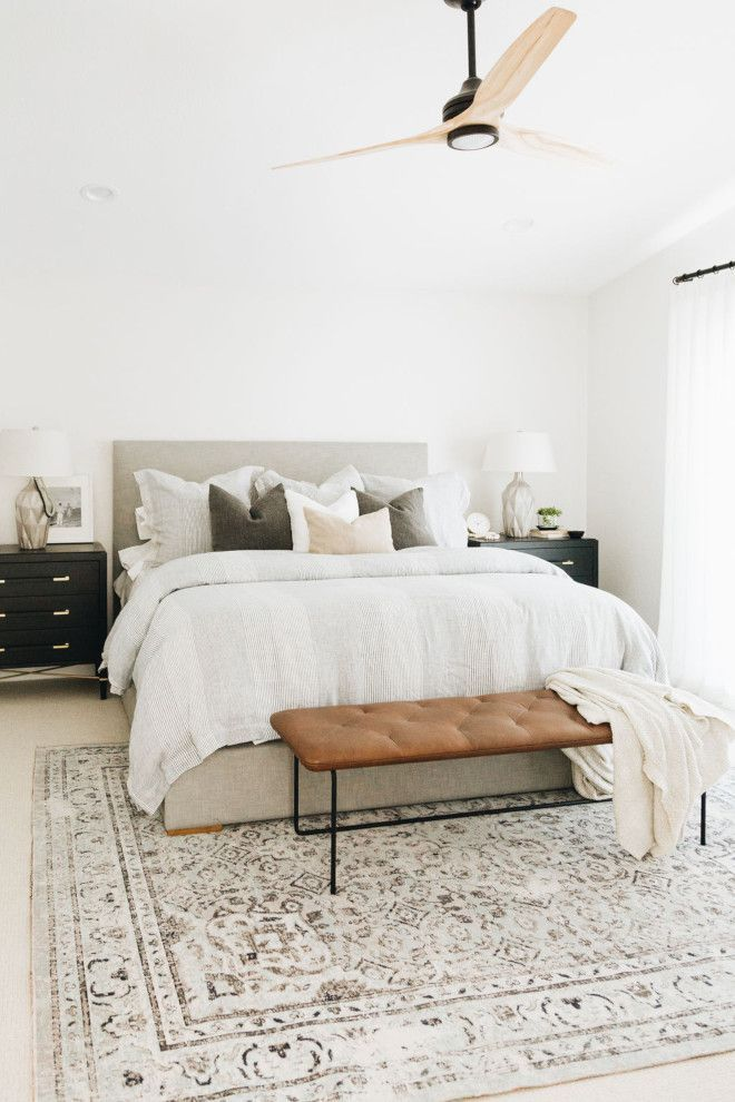 Modern Farmhouse Bedroom White Walls And Neutral Decor Makes This A Very Relaxing Be Modern Country Bedrooms Relaxing Bedroom Modern Farmhouse Interior Design