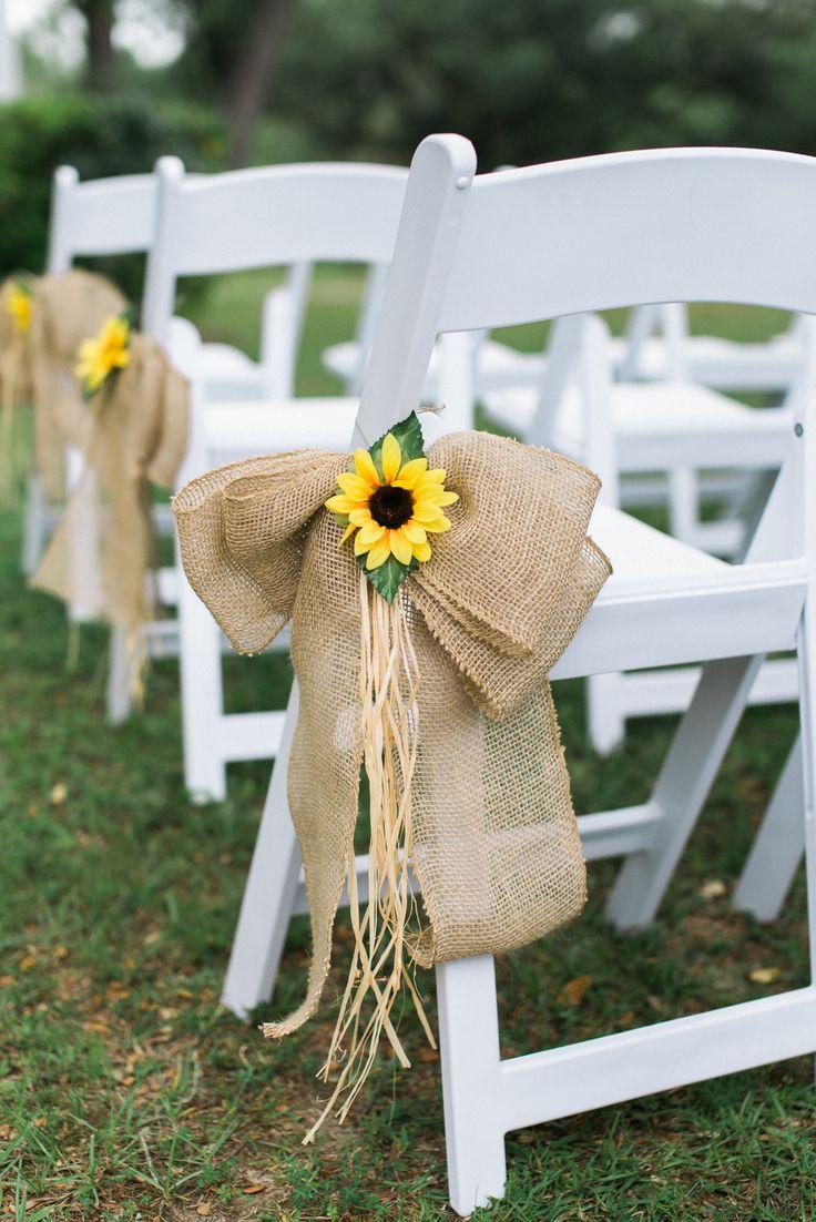 Sunflower and Burlap Bow Aisle Decor