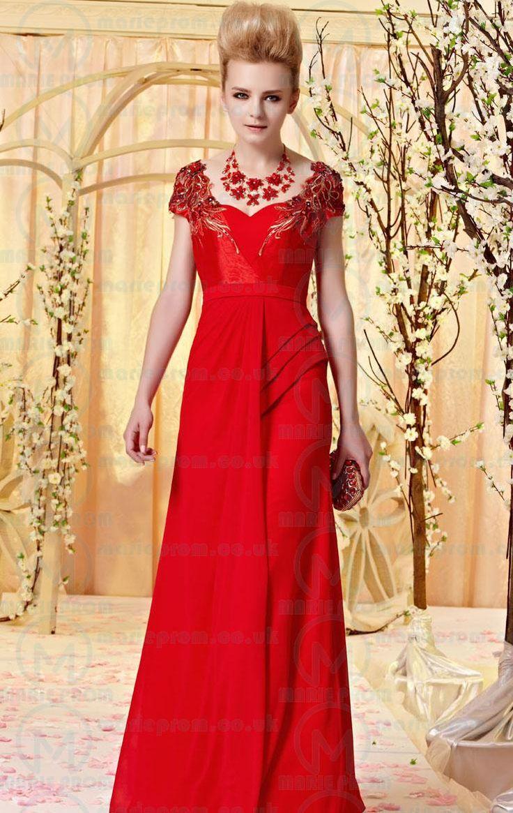 PRETTY LONG RED IN STOCK EVENING PROM DRESS (LFYAK0207) in marieprom.co.uk