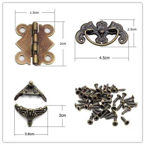 Furniture Case Box Corners/Door Hinge 4 Holes Butterfly Bronze Tone/Drawer Cabinet Desk Door Pull Handle Knob Hardware 048011069