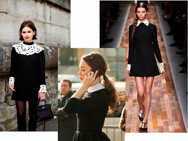 Черное платье с белым воротником. Фото   Каблучок.ру