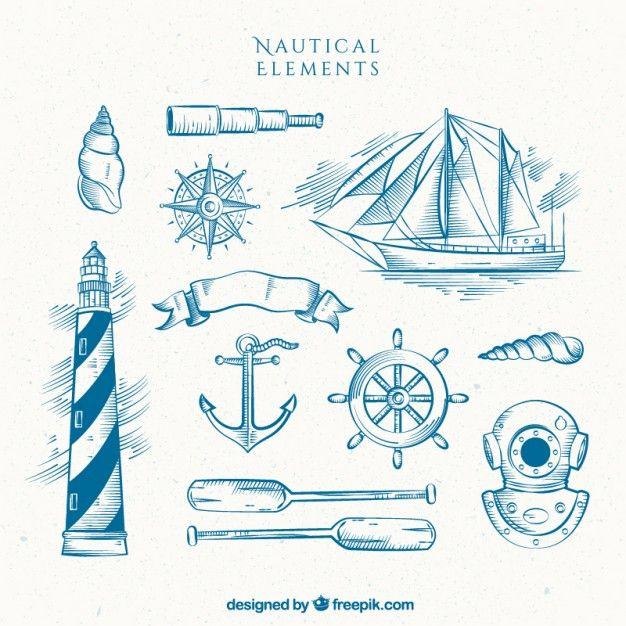 Mão farol desenhado com barco e outros elementos de marinheiro Vetor grátis