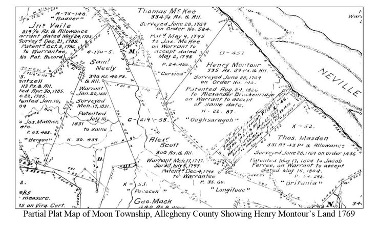 Partial Plot Map of Moon Twp showing Henry Montour's Land