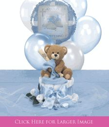 Baseball Baptism Theme Decorations and Christening Centerpieces for Boys comes with Teddy Bear & Cross Table Sprinkles that can be personalized!