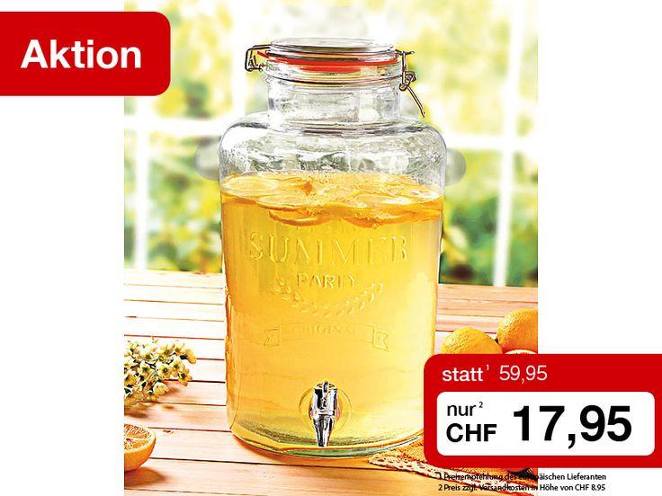 Präsentieren auch Sie Säfte, Limo, Cocktails, Bowlen und Milch-Mix-Getränke ab sofort stilvoll und praktisch in dem grossen Glas-Getränkespender. Sie erhalten ihn diese Woche zum Sonderpreis!  Zum Shop: http://www.pearl.ch/so/search.do?catc1=3018-12&catc2=3013-12&pdid=CH727+CH710+CH711+CH712+NC2740+CH475+CH440+CH497+CH442+NC2439&vid=613&wa_id=26&wa_num=1