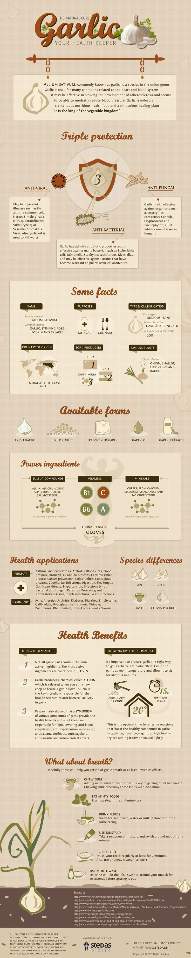 This infographic reveals some surprising facts about garlic you never knew #health http://www.zhounutrition.com