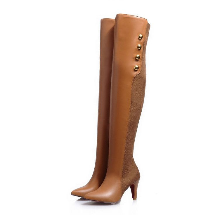 Womens Kitten Heel Pointed Toe Over Knee Thigh Boots Rivet Ladies Riding Boots
