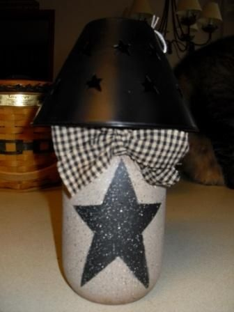 Homespun Jar With Black Shade