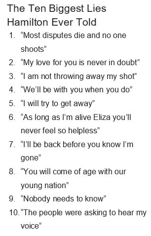 Aww, this made me cry. But for number 6, Eliza probably did feel helpless when she read the pamphlet.