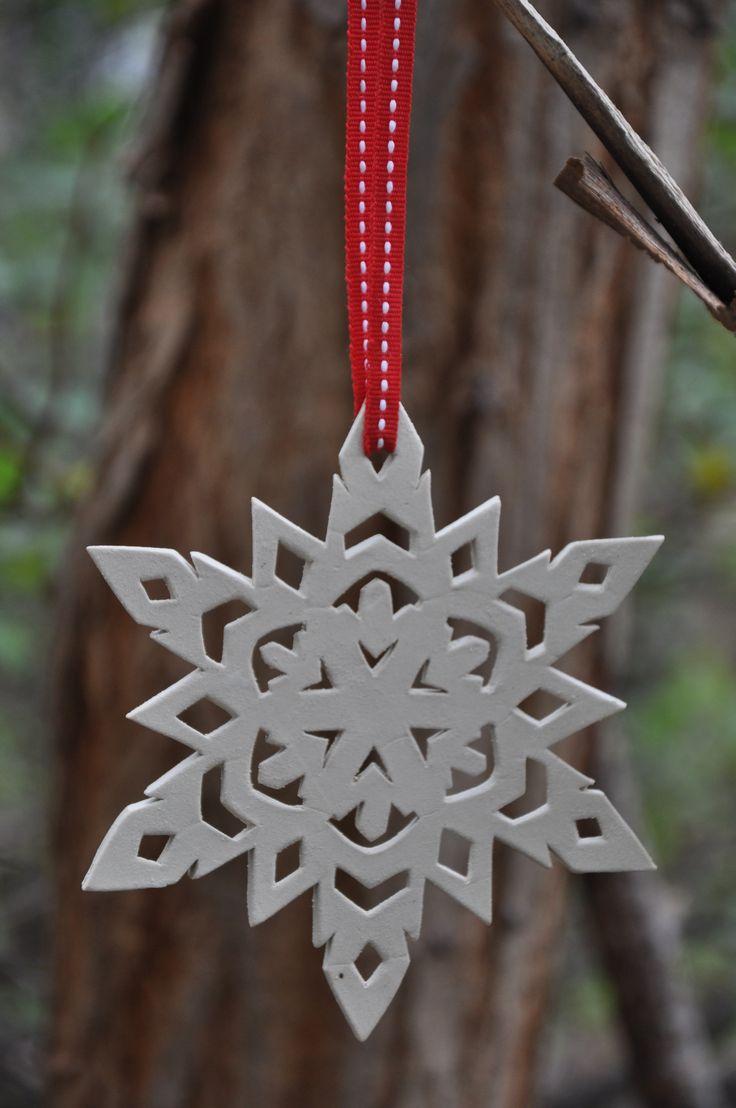 Handmade ceramic snowflake