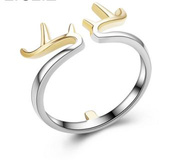 What a creation. Sterling silver and gold filled  antlers adjustable ring.  Free Shipping