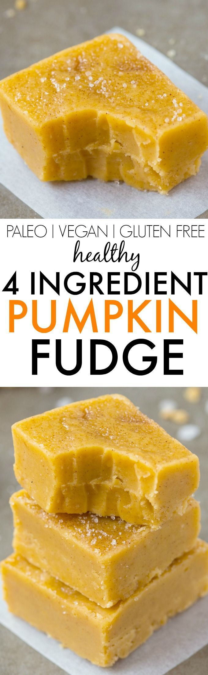 Healthy 4 Ingredient Pumpkin Fudge- Smooth, creamy and ready in minutes, this secretly healthy fudge has a hint of pumpkin and NO condensed milk, butter, refined sugar free and dairy free! {vegan, gluten free, paleo recipe}- http://thebigmansworld.com