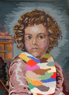 Gordon Froud, Jozi boy (After Murillo), 2012. Found tapestry, wool and perspex box. 250 mm x 400 mm x 50mm. Reproduction courtesy of the artist.