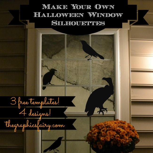 Free Halloween Window Silhouette Templates -- vulture, crow, raven, rat  |  The Graphics Fairy