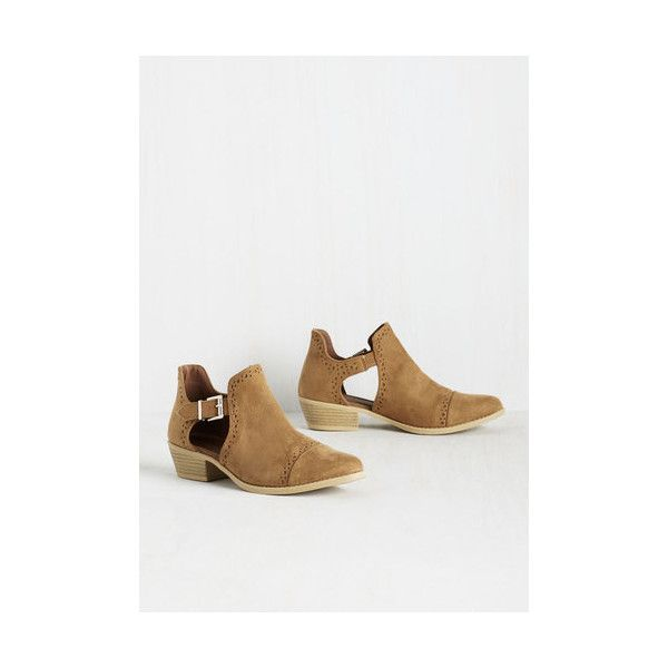 Boho Shooting Stardom Bootie ($30) ❤ liked on Polyvore featuring shoes, boots, ankle booties, boot - bootie, bootie, flat bootie, tan, tan ankle boots, perforated ankle boots and flat booties