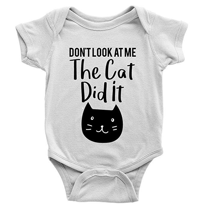 Kickass Tees The Cat Did It Babygrow 0-3m White Funny Kitten Animal Body Suit Gift New Baby Arrival: Amazon.co.uk: Clothing
