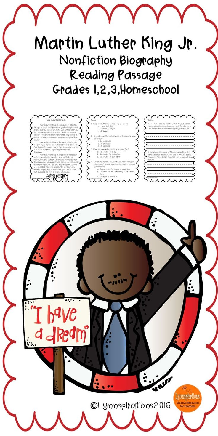 This reading comprehension passage about Martin Luther King Jr. for grades 1-3 can be used in your class to help your students with reading comprehension skills as well as with test taking skills.   Please take a preview peek!   Included: An engaging passage with 4 multiple choice questions and 2 written responses.