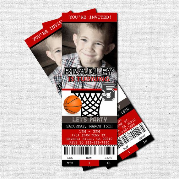 BASKETBALL TICKET INVITATIONS Birthday Party print by nowanorris