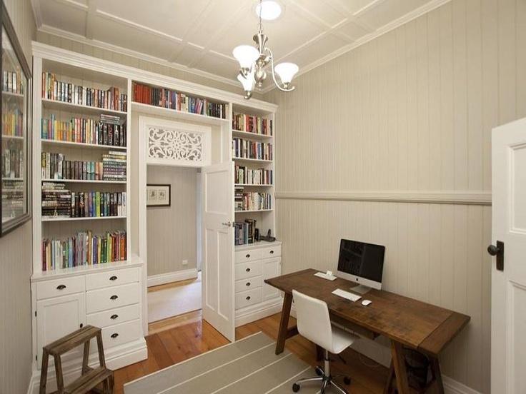 built in bookcase around doorway