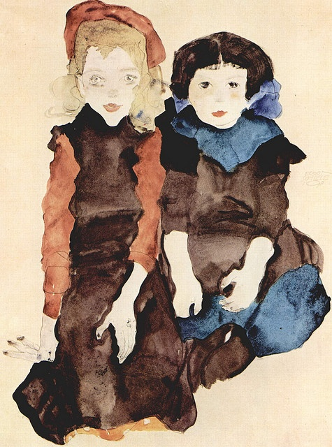 Egon Schiele Two Children