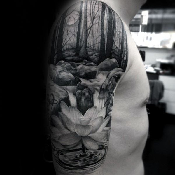 Amazing Forest Waterfall Male Half Sleeve Tattoo Designs