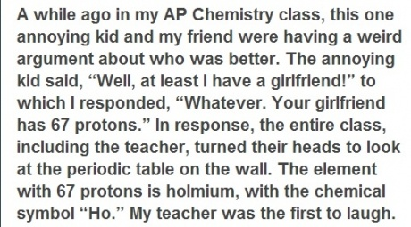 that teacher has to be awesome. lol. as well as the kid who came up with the comeback. hahaha.