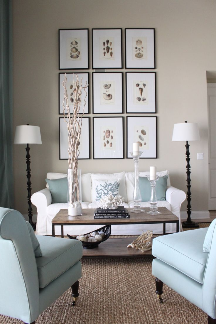 Gorgeous Coastal Decor with touches of blue and a fabulous gallery wall