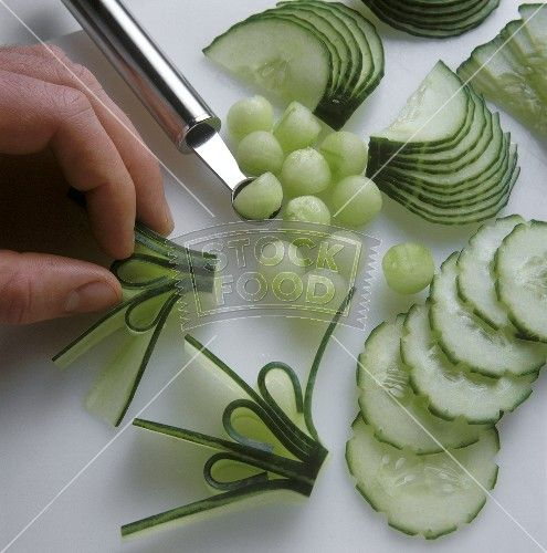 Cucumber garnishes.