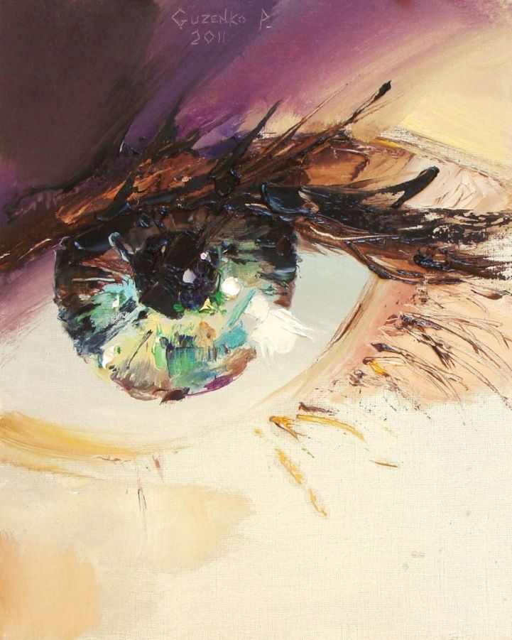 Ukrainian artist Pavel Guzenko manages to capture the glimmering gaze of the human eye with his impressionist technique. Each shimmering orb depicts a remarkable reflective surface, truly capturing the sparkle in one's eye.