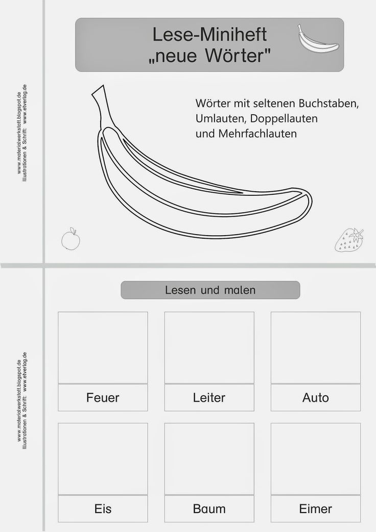 """Materialwerkstatt: Lese-Miniheft """"erste Wörter"""""""