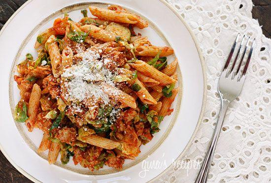 autumn penne pasta w/ sautéed brussel sprouts in a light ragu