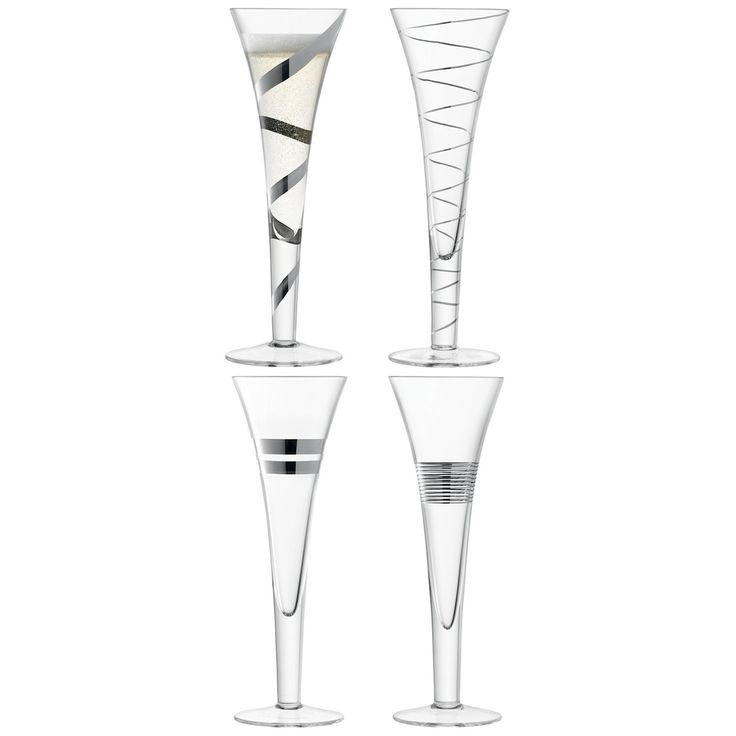 Captivating LSA International   Gatsby Champagne Flutes Platinum