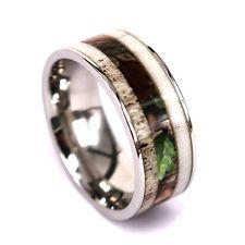 Natural Deer Antler Ring Camo Ring Unisex Titanium Mens Womens Wedding Ring Band