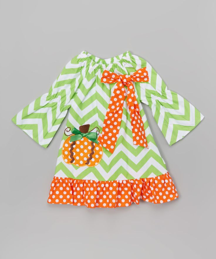 Look at this #zulilyfind! Green Chevron Pumpkin Dress - Infant, Toddler & Girls by The Princess Pea #zulilyfinds
