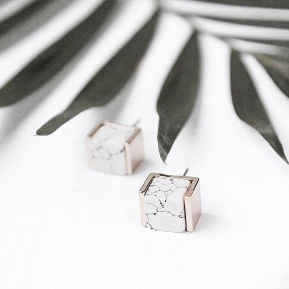 SHIPS NOW! white marble earrings studs gold square 16K gold plated stimulated stone earrings ships immediately only 2 pairs avail! Jewelry Earrings