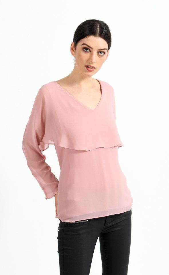 Give your look a sleek modern touch with our Chiffon Cape Detail Look. Effortlessly feminine, this top will become your weekday favourite.