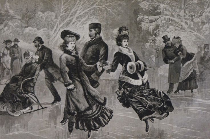 New York City CENTRAL PARK Victorian Ice Skating Chair Sled 1877  Print Matted
