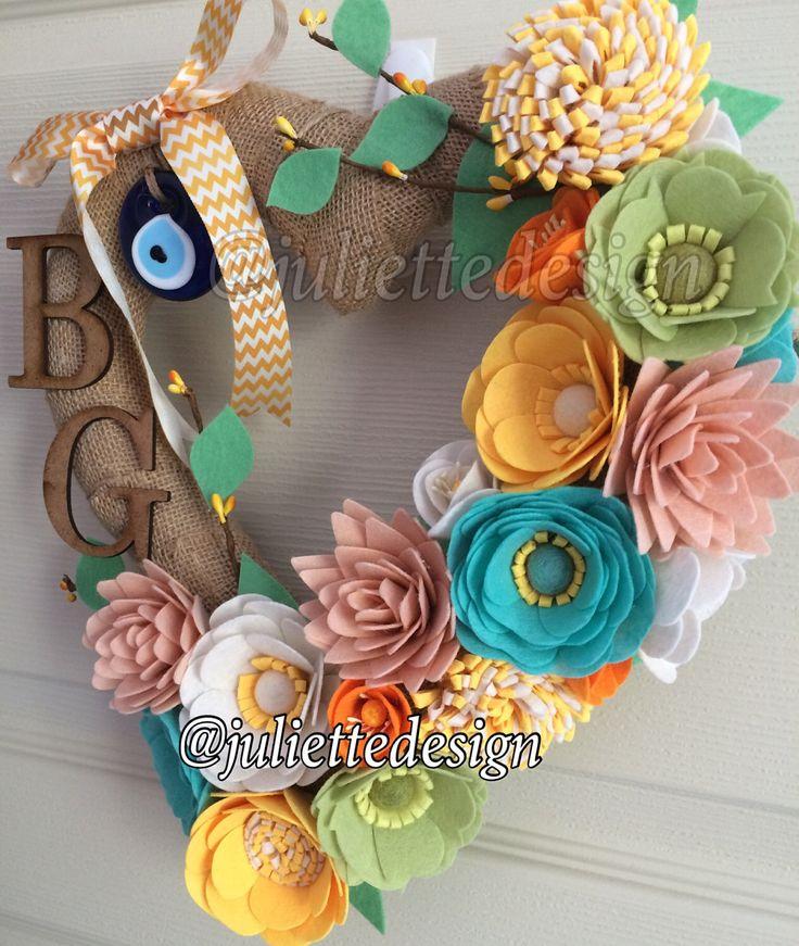 Heart Felt Wreath, Monogrammed Wreath, Felt Wreath, Felt Flower Wreath by juliettesdesigntr on Etsy https://www.etsy.com/listing/497332964/heart-felt-wreath-monogrammed-wreath