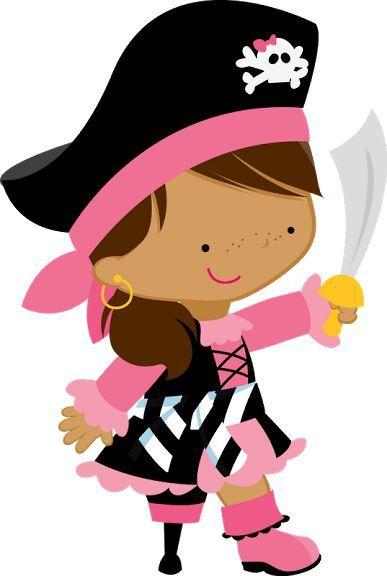 peg leg pirate princess clip art - free