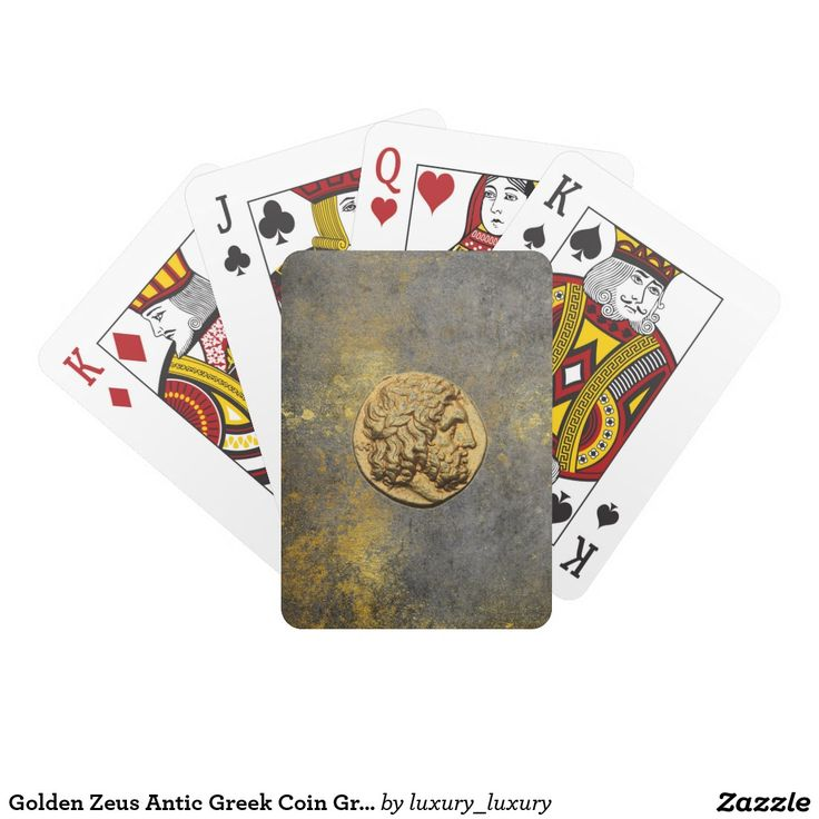 Golden Zeus Antic Greek Coin Grungy Playing Cards