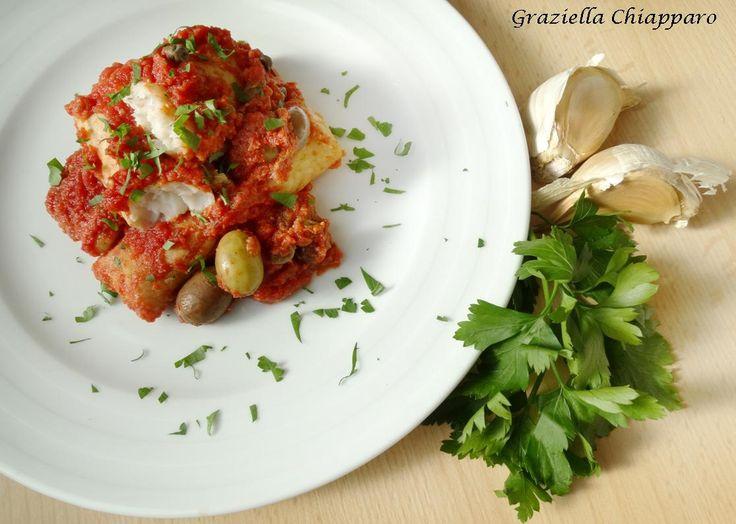 Cuori di merluzzo alla mediterranea, una ricetta facile, veloce e gustosa per apprezzare al meglio i classici filetti di merluzzo surgelati :)