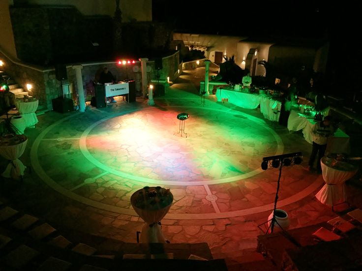 Mykonos Grand Outdoor Amphitheater with party lighting